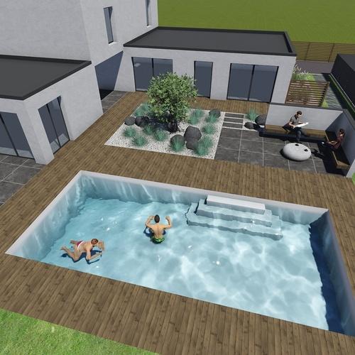 Aménagement extérieur et intégration d''une piscine - Plérin