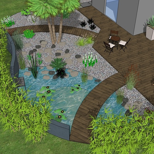 Bassin, terrasse et plantations exotiques