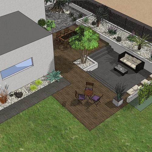 Création complète du jardin dans un style moderne en prenant en compte les vis-à-vis et différents points de vue de la maison, terrasse a double niveau. - PLERIN