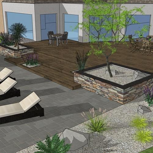 Création d'une terrasse en bois entre la maison et une terrasse – LAMBALLE