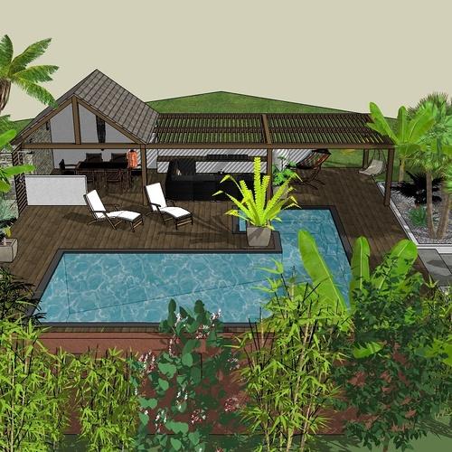 Créer dans sa totalité un espace piscine, pool house et terrasse dans un espace limité, esprit moderne et exotique - SAINT-POTAN