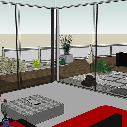 Créer un jardin dans un style moderne permettant d'intégrer l'entrée et le parking tout en isolant le coin repas - PLERIN