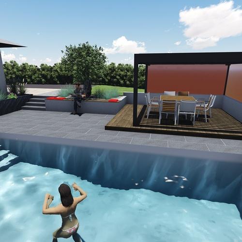 Différentes versions de plan 3D de l''aménagement de l''espace extérieur - Bégard