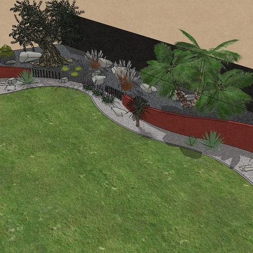 Habillé le fond du jardin de façon exotique et moderne, utilisé du paillage minéral et des gros sujets. – PLOUFRAGAN