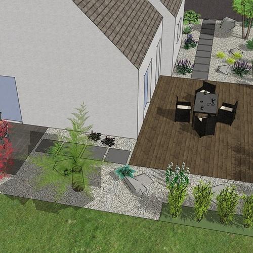 Moderniser la cour et l'accès porte d'entrée, créer les terrasses Sud et Ouest dans la continuité. – LANTIC
