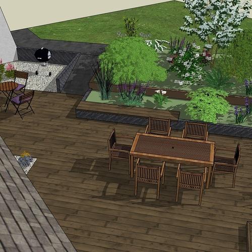 Modifier la terrasse aux abords des pièces de vie en utilisant les niveaux du terrain existant. - LANGUEUX