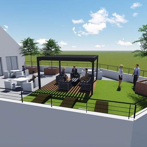 Plan 3D d''une terrasse d''entreprise