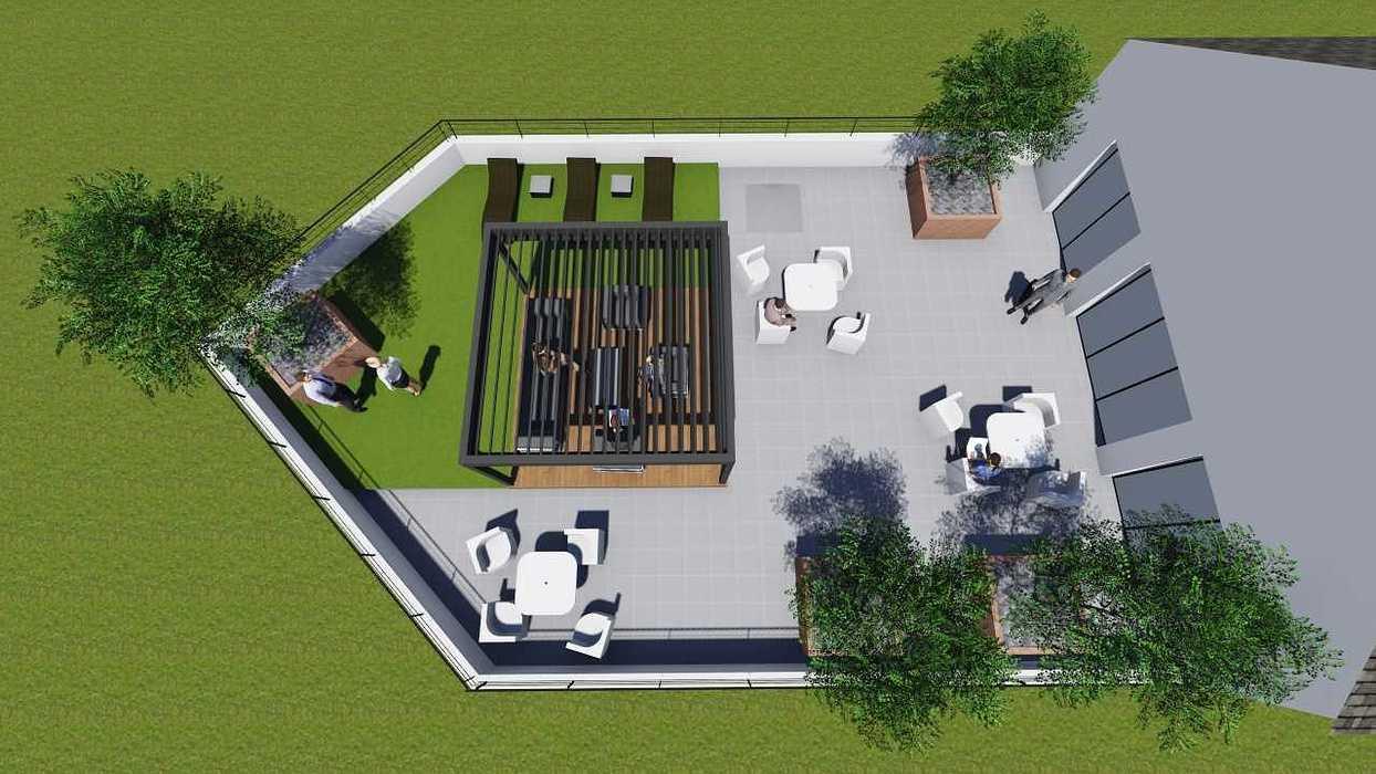 Plan 3D d''une terrasse d''entreprise terr1