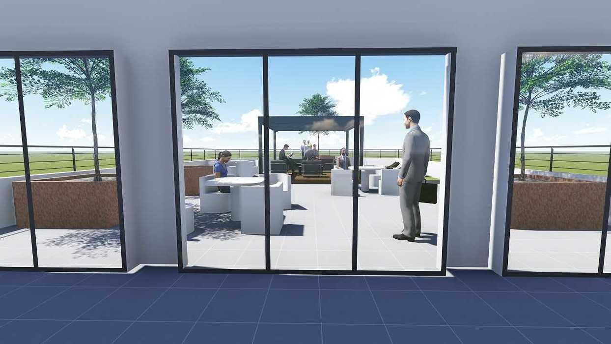 Plan 3D d''une terrasse d''entreprise terr4