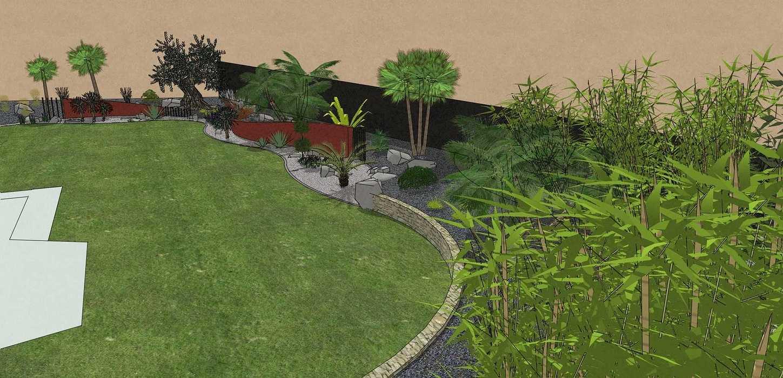 Habillé le fond du jardin de façon exotique et moderne, utilisé du paillage minéral et des gros sujets. – PLOUFRAGAN rault2