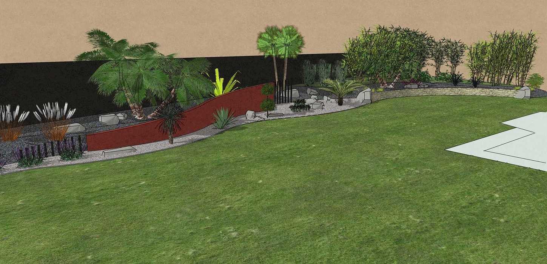 Habillé le fond du jardin de façon exotique et moderne, utilisé du paillage minéral et des gros sujets. – PLOUFRAGAN rault3