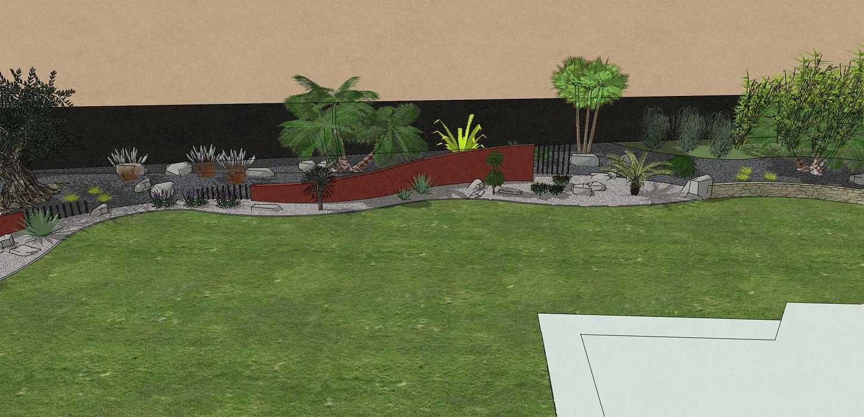 Habillé le fond du jardin de façon exotique et moderne, utilisé du paillage minéral et des gros sujets. – PLOUFRAGAN rault4