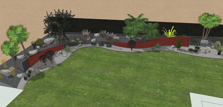 Habillé le fond du jardin de façon exotique et moderne, utilisé du paillage minéral et des gros sujets. – PLOUFRAGAN rault5