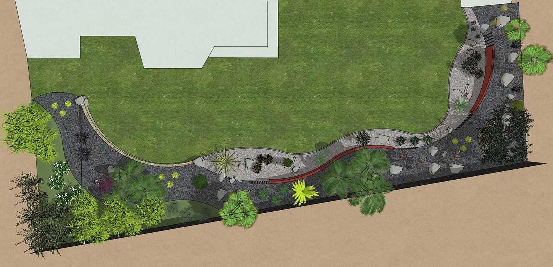 Habillé le fond du jardin de façon exotique et moderne, utilisé du paillage minéral et des gros sujets. – PLOUFRAGAN rault6