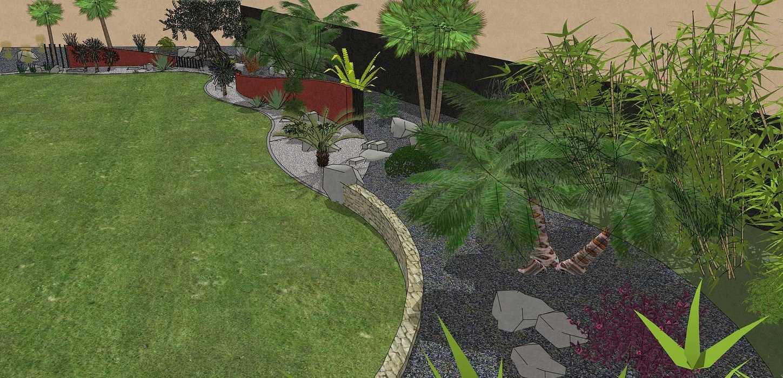 Habillé le fond du jardin de façon exotique et moderne, utilisé du paillage minéral et des gros sujets. – PLOUFRAGAN rault7