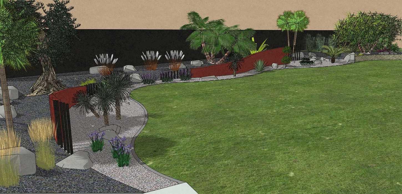 Habillé le fond du jardin de façon exotique et moderne, utilisé du paillage minéral et des gros sujets. – PLOUFRAGAN rault9