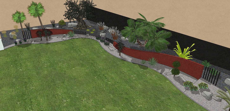 Habillé le fond du jardin de façon exotique et moderne, utilisé du paillage minéral et des gros sujets. – PLOUFRAGAN 0